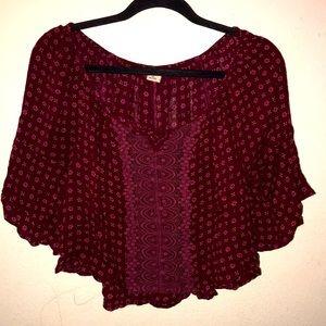 Hollister boho cropped blouse